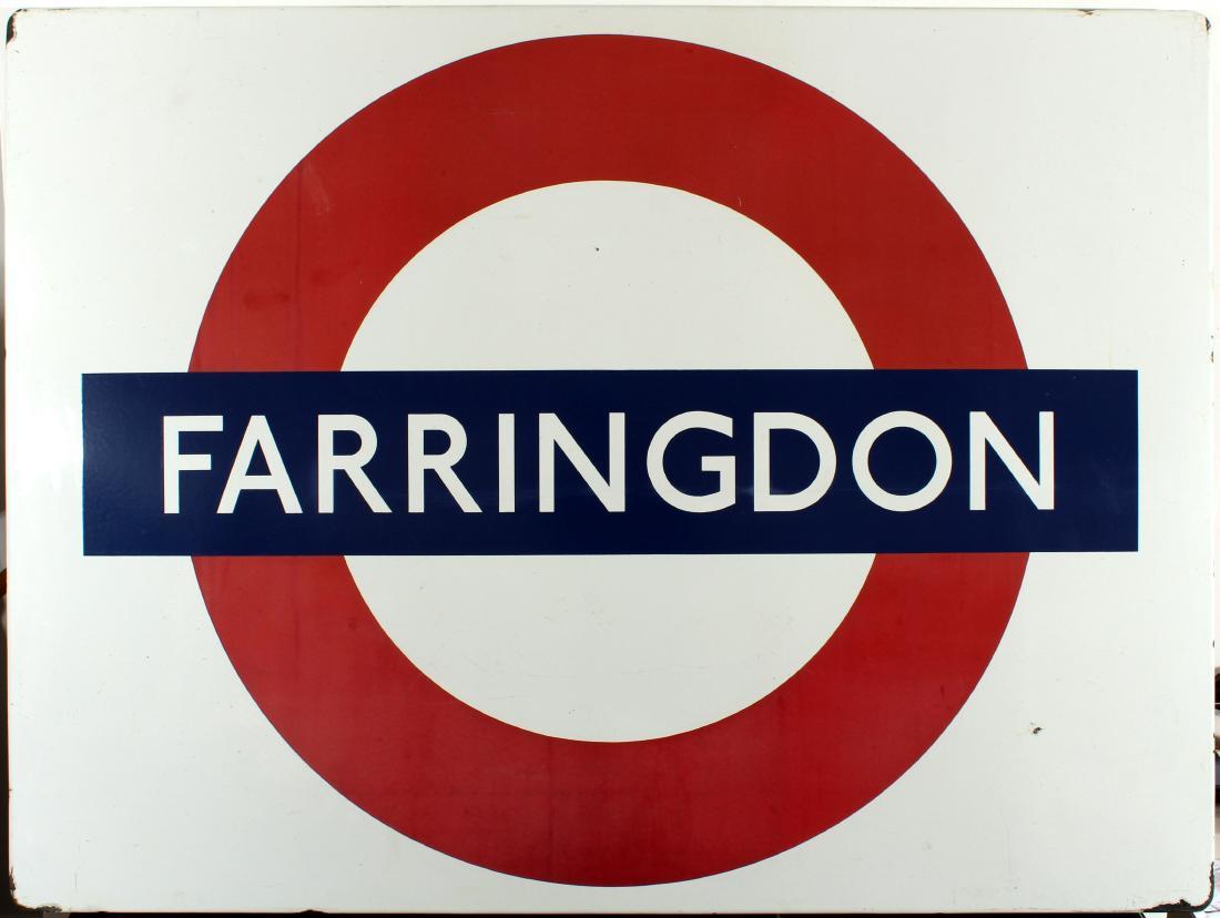 LU Farringdon enamel sign