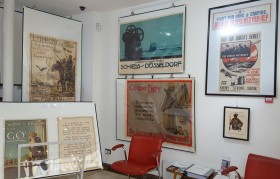 AntikBar WWI Poster Exhibition seating area