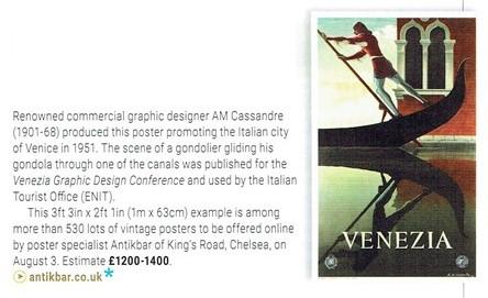 ATG Auction Previews AntikBar Poster Auction 3 August Venice Cassandre