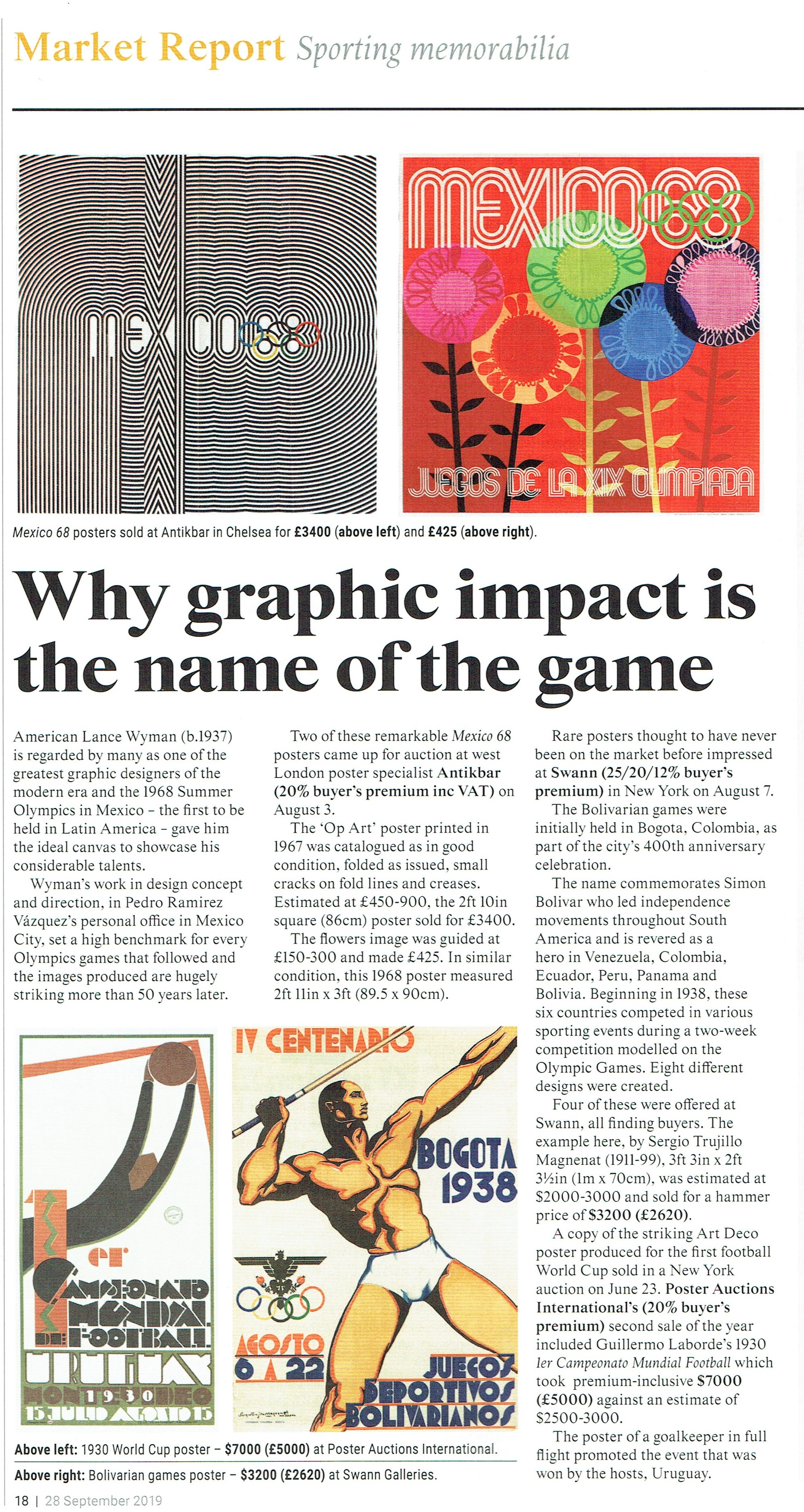 ATG Auction Report AntikBar Original Vintage Posters Graphic Design Sporting Memorabilia