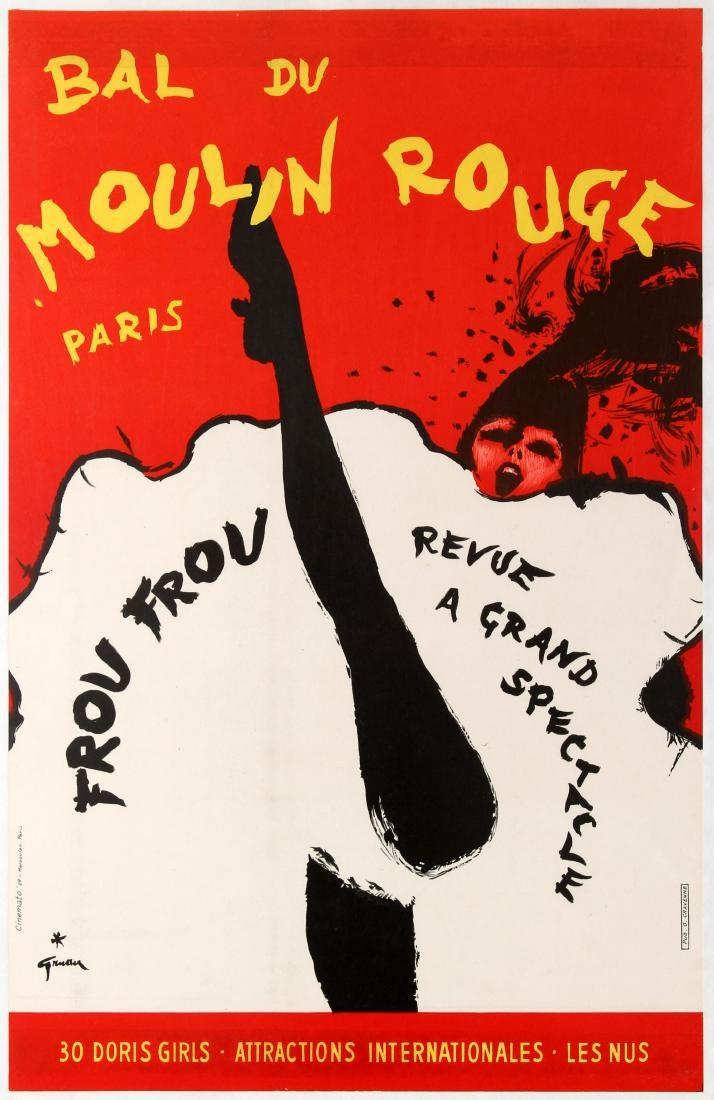 Bal du Moulin Rouge cancan cabaret dancers Paris Rene Gruau Frou Frou