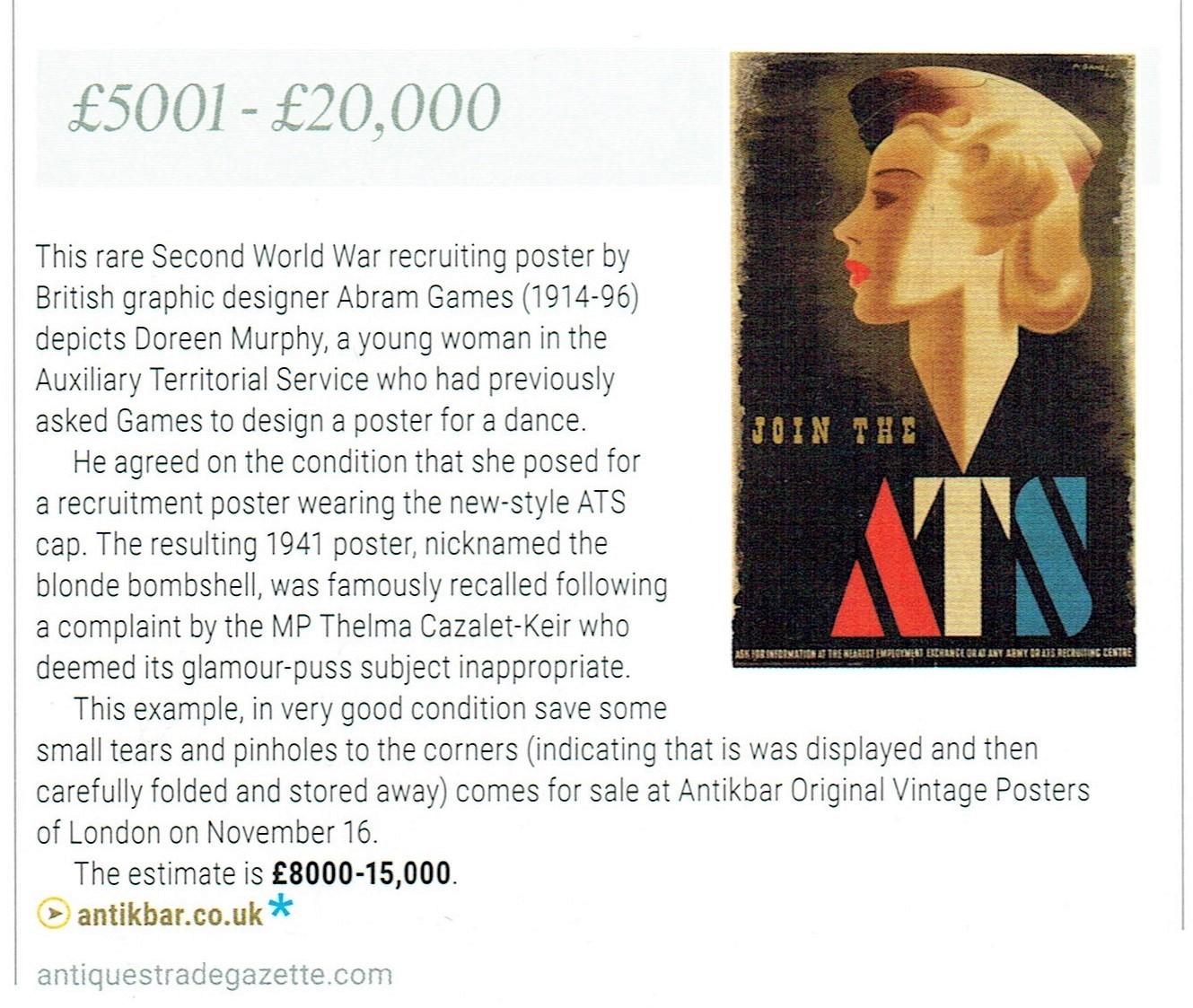 ATG Auction Previews p45 ATS AbramGames AntikBar Vintage Poster Auction 16November2019