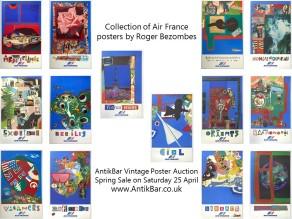Air France Travel Posters Roger Bezombes AntikBar Vintage Poster Auction 25 April