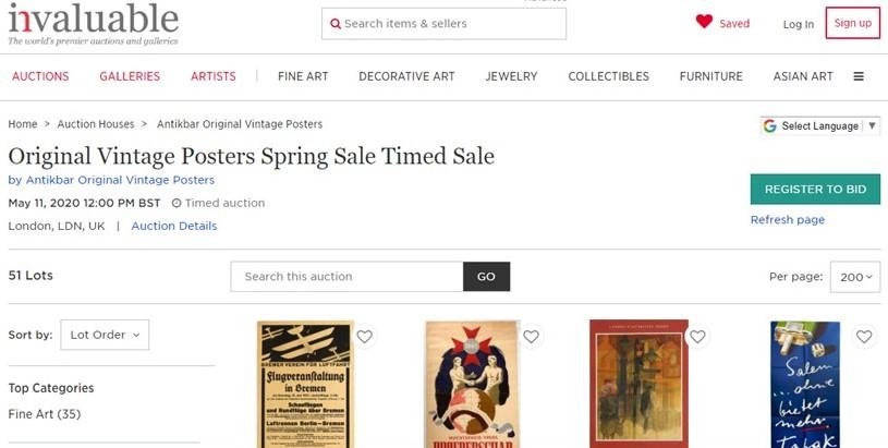 AntikBar Spring Sale Vintage Poster Auction After Sale Timed April May 2020