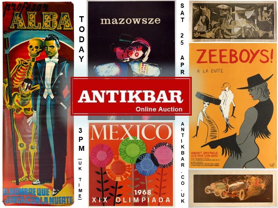 Auction TODAY 25April2020 AntikBar Original Vintage Posters
