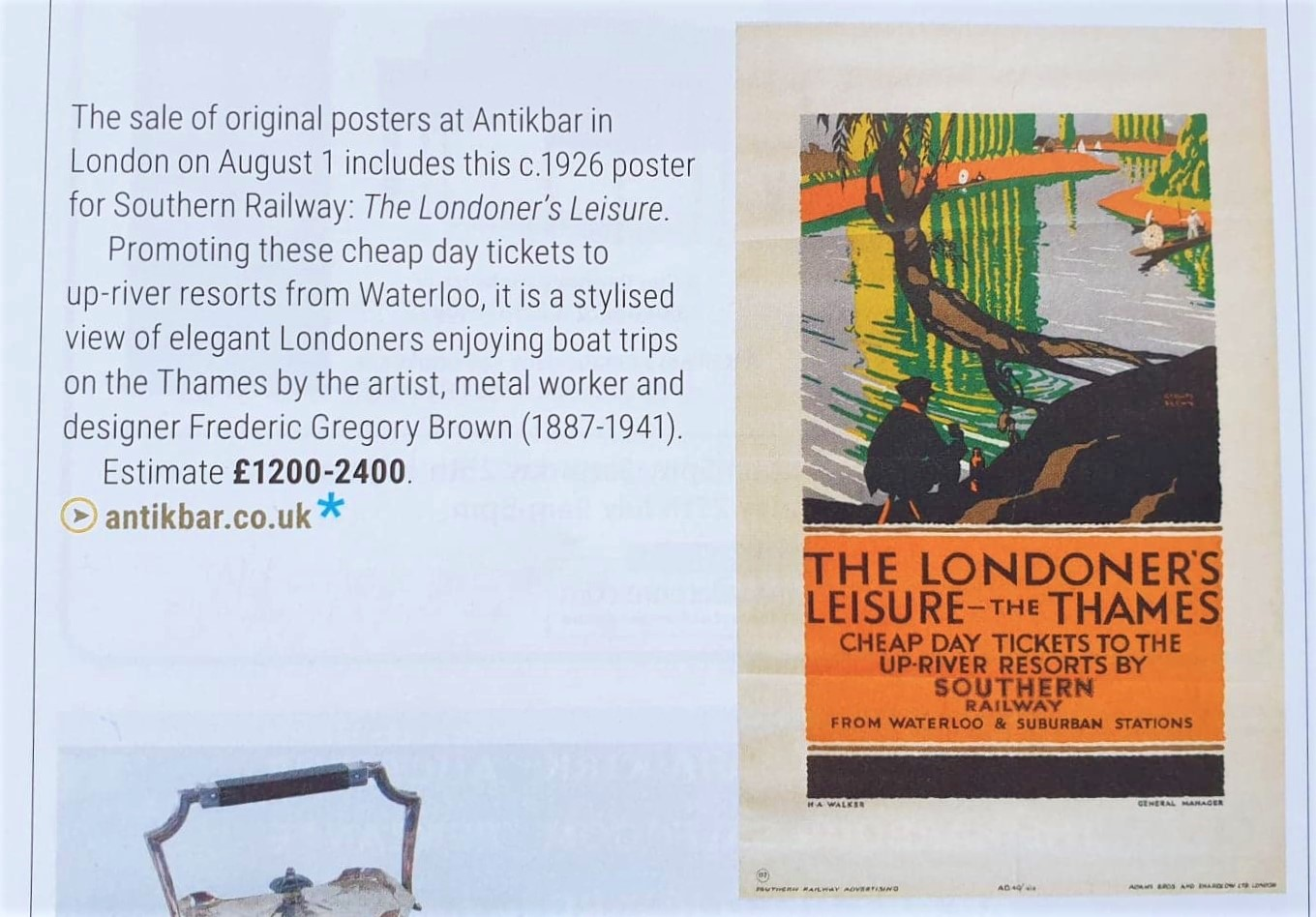 ATG AntikBar Poster Auction 1 August 2020 Londoners Thames